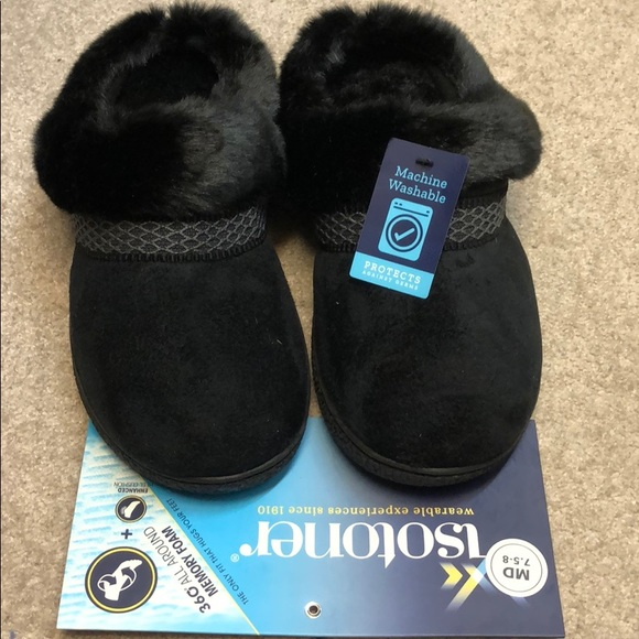 New, Isotoner Brand black slippers : house shoes